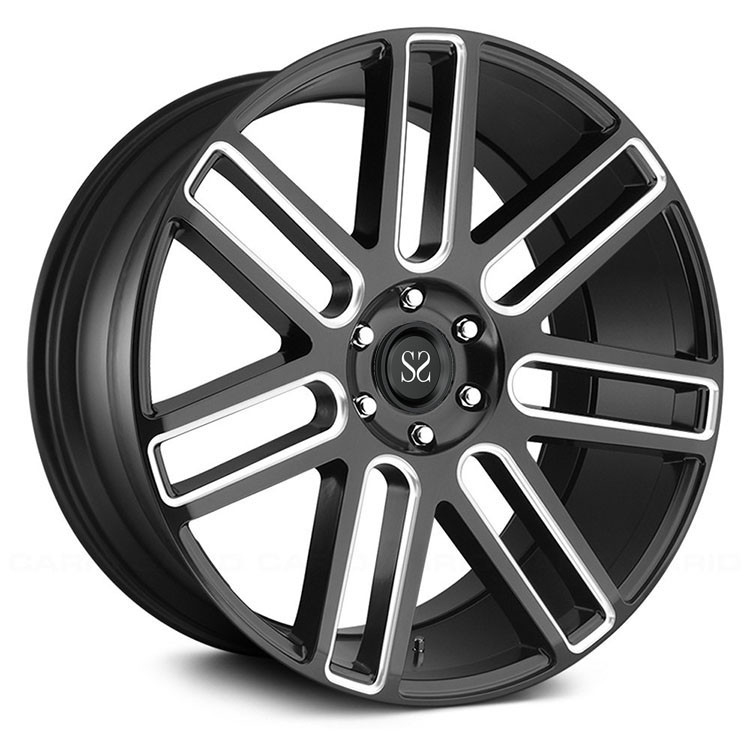 luxury car 20 inch automotive aluminium black machined alloy wheels made  of 6061-T6 aluminum alloy